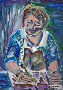 Portrait, Farben, Atelier, Malen