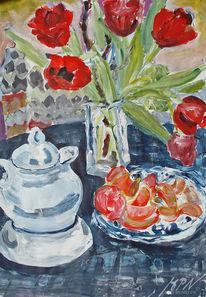 Farben, Tulpen, Acrylmalerei, Porzellan