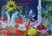 Porzellan, Farben, Sonnenblumen, Rosenblüte