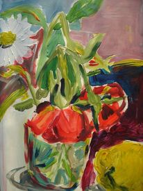 Zitone, Rose, Acrylmalerei, Blumen