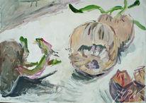 Stillleben, Kreide, Gemüse, Acrylmalerei