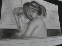 Liebe, Mutter und kind, Vertrauen, Grafit