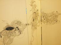 Schilder, Edding, Apfel, Bleistiftzeichnung