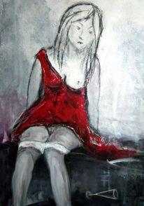 Mädchen, Rot, Kleid, Acrylmalerei