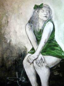 Mädchen, Grün, Puppe, Acrylmalerei