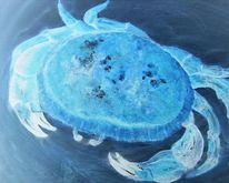 Meerestiere, Aquarellmalerei, Schalentiere, Blau