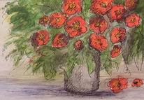 Blumen, Strauß in der vase, Aquarellmalerei, Mohnblumen