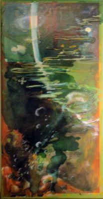 Ölmalerei, Surreal, Frau, Unterwasser