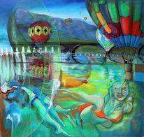 Surreal, Schwimmerin, Ballon reißverschluß, Tageslicht