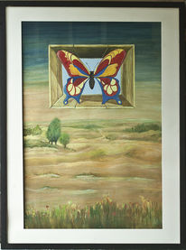 Schmetterling, Malerei, Surreal, Landschaft