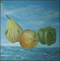 Ölmalerei, Nahrungsmittel, Birne, Stillleben