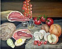 Zwiebeln, Schinken, Brot, Tomate