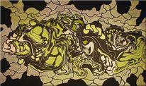 Malerei, Gelb, Grüne perle, Acrylmalerei
