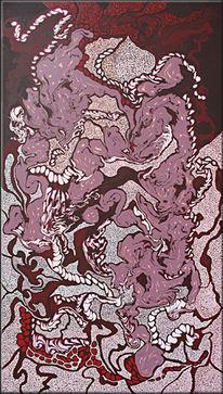 Acrylmalerei, Originell, Rot, Gemälde