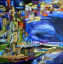 Malerei, Hinter glas, Gold, Ufer