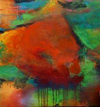 Abstrakt, Fantasie, Rot orange, Malerei