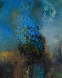 Zeitgenössische malerei, Türkis, Abstrakt, Moderne kunst