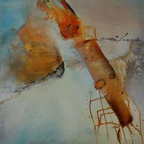 Orange, Türkis, Abstrakt, Modern