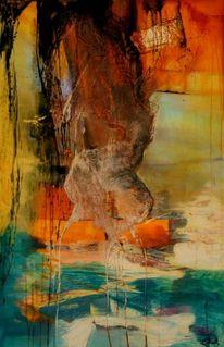 Orange, Wasser, Ruhe, Abstrakt