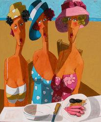 Diner, Strand, Weiblichkeit, Meer