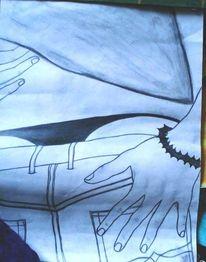 Gesäß, Hände, Jeans, Zeichnungen