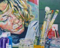Menschen, Portrait, Frauenportrait, Acrylmalerei