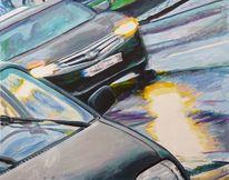 Regen, Zwielicht, Auto, Malerei