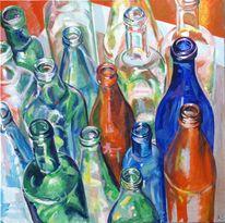 Acrylmalerei, Stillleben, Flasche, Malerei