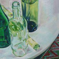 Stillleben, Acrylmalerei, Flasche, Malerei