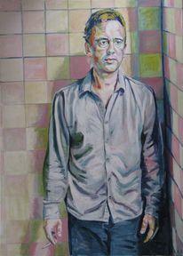 Acrylmalerei, Menschen, Rauchen, Portrait