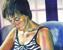 Ruhe, Frau, Acrylmalerei, Portrait