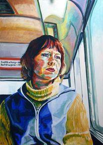 Fernweh, Frauenportrait, Acrylmalerei, Portrait