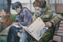 Mann, Armut, Winter, Malerei
