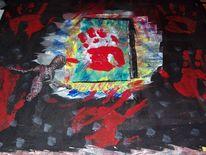 Hand, Acrylmalerei, Tür, Draht