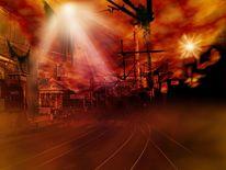 Zukunft, Nebel, Bahn, Bahnhof