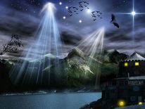 Nacht, Südtirol, Berge, Fledermaus