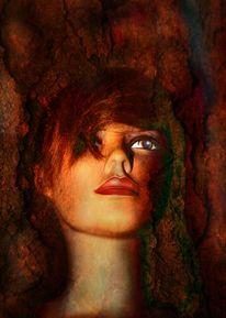 Baum, Baumrinde, Frau, Portrait