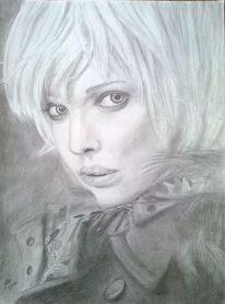 Frau, Portrait, Bleistiftzeichnung, Zeichnungen