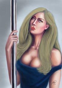 Frau, Blond, Digitale kunst, Menschen