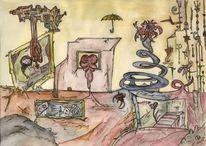 Korsika, Tuschmalerei, Aquarellmalerei, Abstrakt
