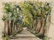 Baum, Lange allee, Grün, Malerei