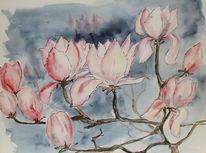 Blüte, Malerei, Magnolien