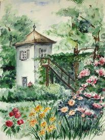Garten, Grün, Malerei, Schiller