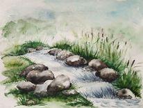 Hügel, Stein, Wasser, Aquarell