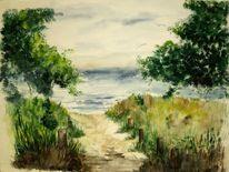 Strand, Meer, Dünen, Aquarell