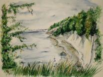 Landschaft, Meer, Kreide, Malerei