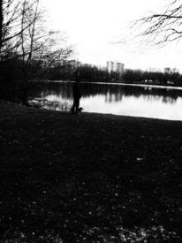 Mann, Schwarzweiß, Hund, See