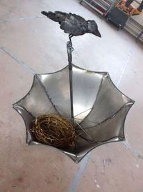 Regenschirm, Vogel, Rabe, Vogelnest
