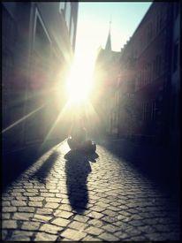 Sonne, Stadt, Leuchten, Mädchen