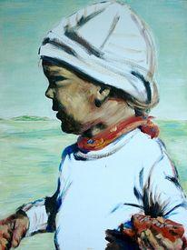 Strand, Kind, Portrait, Malerei